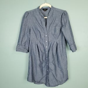 Jack Women's Pearl Snap Chambray Shirt Dress Med